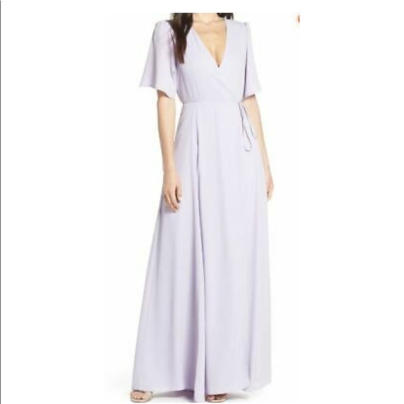 WAYF The Aurelia Sleeve Wrap Dress Gown
